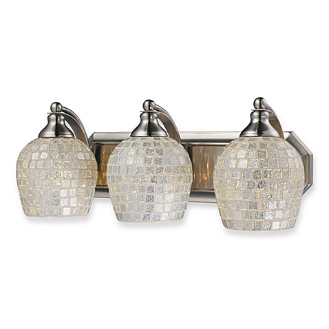 ELK Lighting Vanity Light Trio with Silver Mosaic Glass and Satin Nickel Finish