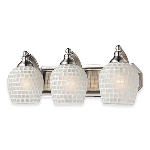 ELK Lighting 3-Light Vanity Light in Satin Nickel with Hand-Blown White Mosaic Glass