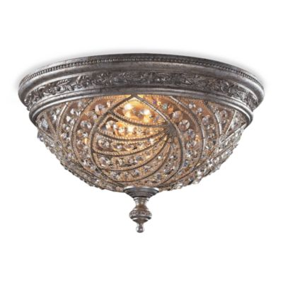 ELK Lighting 4-Light Flush Mount Fixture in Sunset Silver and Crystal Accents