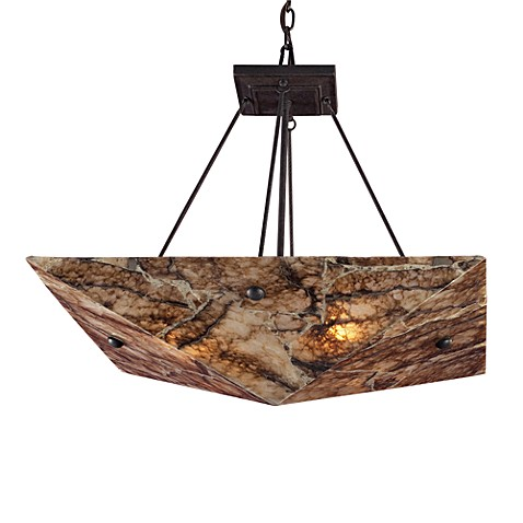 ELK Lighting Imperial Granite 4-Light Pendant Ceiling Lamp in Antique Brass