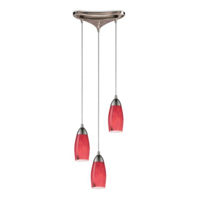 ELK Lighting 3-Light Pendant Ceiling Lamp in Satin Nickel/Fire Red Glass