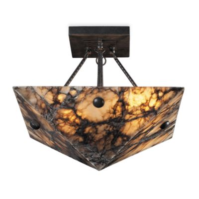 ELK Lighting 4-Light Semi-Flush Fixture in Antique Brass and Veined Stone