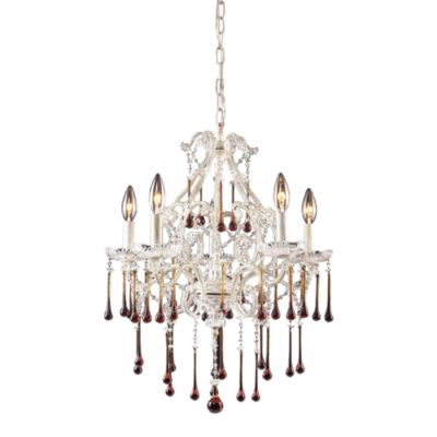 ELK Lighting Opulence 5-Light Chandelier in Antique White/Amber Crystal
