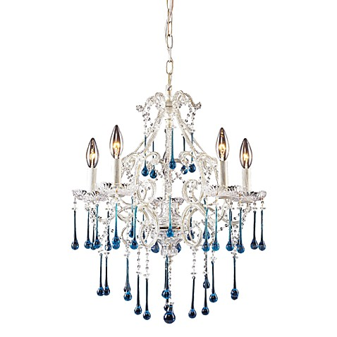 ELK Lighting Opulence 5-Light Chandelier in Antique White/Aqua Crystal