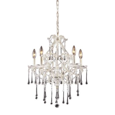 ELK Lighting Opulence 5-Light Chandelier in Antique White/Clear Crystal