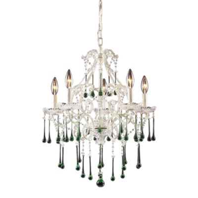 ELK Lighting Opulence 5-Light Chandelier in Antique White/Lime Crystal