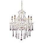 ELK Lighting Opulence 5-Light Chandelier in Antique White/Rose Crystal