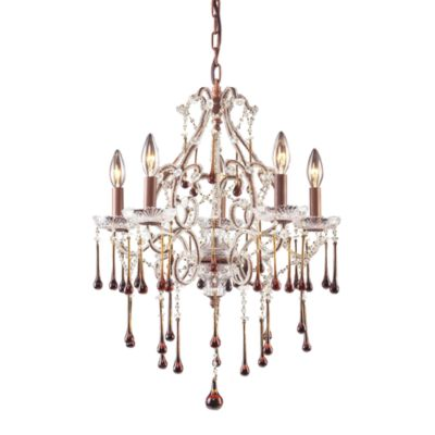 ELK Lighting Opulence 5-Light Chandelier in Rust/Amber Crystal