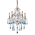 ELK Lighting Opulence 5-Light Chandelier in Rust/Aqua Crystal