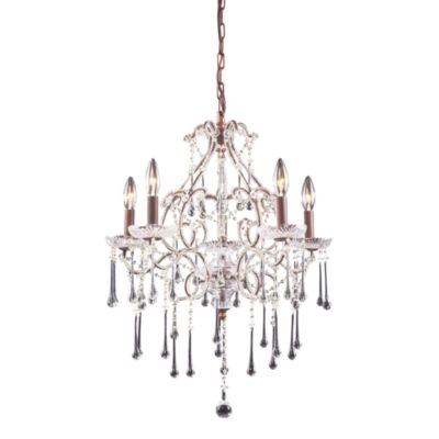 ELK Lighting Opulence 5-Light Chandelier in Rust/Clear Crystal