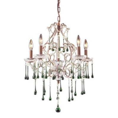 ELK Lighting Opulence 5-Light Chandelier in Rust/Lime Crystal