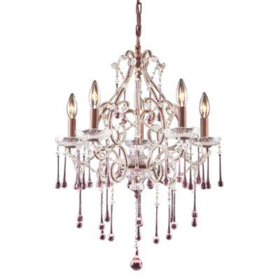 ELK Lighting Opulence 5-Light Chandelier in Rust/Rose Crystal