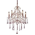 ELK Lighting Opulence 5-Light Chandelier in Rust/Rose Crystal