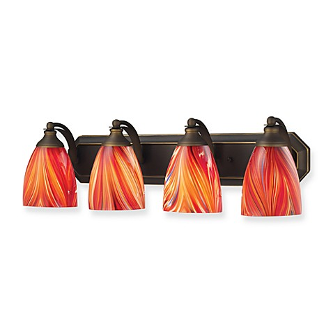 ELK Lighting 4-Light Vanity Fixture with MultiColor Glass and Aged Bronze Hardware