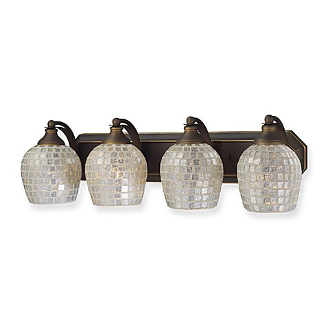 ELK Lighting Aged Bronze 4-Light Vanity Fixture with Silver Mosaic Glass Shades