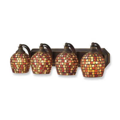 ELK Lighting Aged Bronze Vanity 4-Light Fixture with Multi-Colored Mosaic Glass Shades
