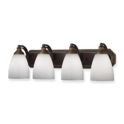 ELK Lighting 4-Light Vanity Strip With White Glass Shades in Aged Bronze