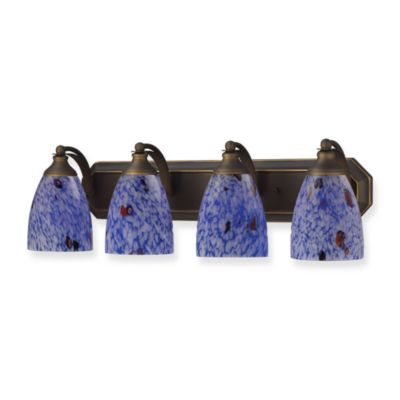 ELK Lighting 4-Light Vanity Strip With Starburst Blue Glass Shades in Aged Bronze