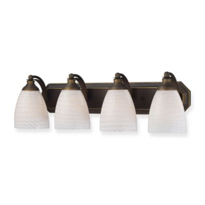 ELK Lighting 4-Light Vanity Strip with Sapphire Glass Shades in Aged Bronze