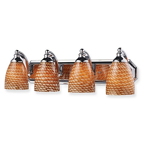 Elk Lighting Polished Chrome 4-Light Vanity Fixture with Cocoa Glass Shades