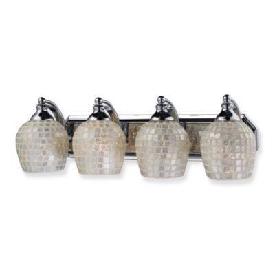 ELK Lighting 4-Light Vanity Fixture with White Mosaic Glass and Polished Chrome