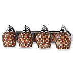 ELK Lighting 4-Light Vanity Fixture with Multicolored Mosaic Glass and Polished Chrome