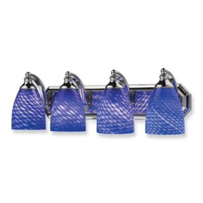 ELK Lighting Polished Chrome 4-Light Vanity Fixture with Sapphire Glass Shades