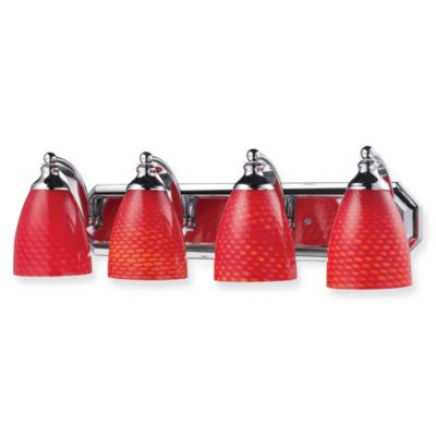 ELK Lighting Polished Chrome 4-Light Vanity Fixture with Scarlet Glass Shades