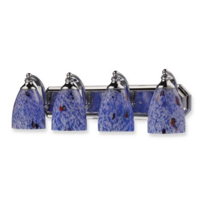 ELK Lighting Polished Chrome 4-Light Vanity Fixture with Hand-Blown Starburst Blue Glass Shades