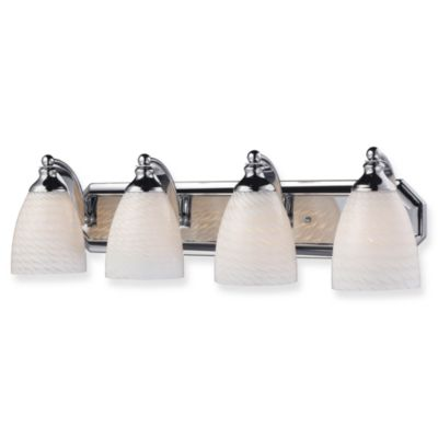 Elk Lighting Polished Chrome 4-Light Vanity Lighting Fixture with Snow White Glass Shades