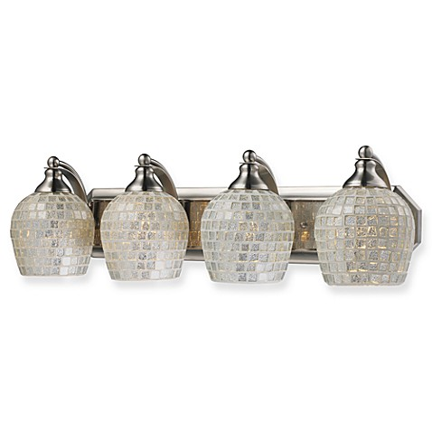 ELK Lighting Silver Mosaic Glass 4-Light Vanity Light in Satin Nickel
