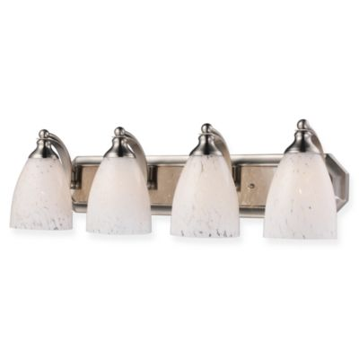 ELK Lighting 4-Light Vanity in Satin Nickel/Snow White Glass