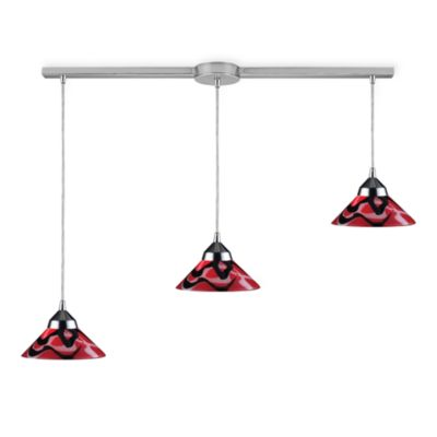 ELK Lighting Refraction 3-Light Pendant Ceiling Lamp in Polished Chrome/Mars Glass
