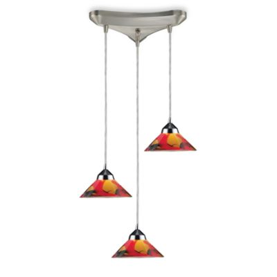 ELK Lighting Refraction Collection 3-Light Pendant Fixture in Polished Chrome and Jasper Glass