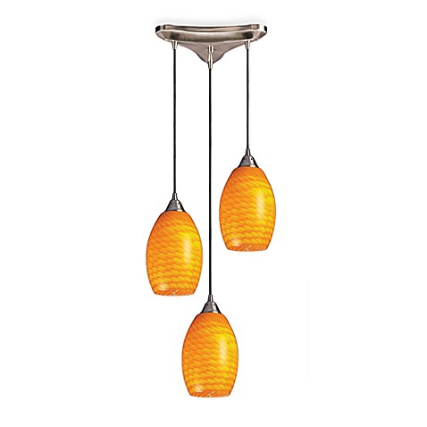 Satin Nickel/Canary Glass 3-Light Vertical Round Pendant