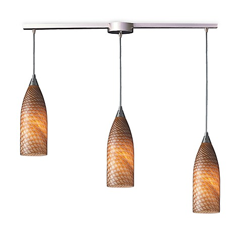 ELK Lighting Cilindro 3-Light Pendant Ceiling Lamp Satin Nickel/Coco Glass