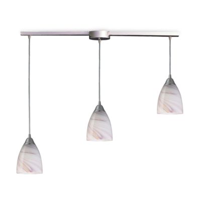 ELK Lighting Pierra 3-Light Pendant Ceiling Lamp in Satin Nickel/Creme Glass