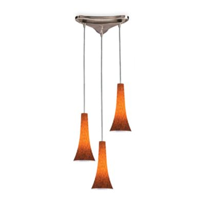 Pendant Light Fixture in Satin Nickel and Espresso Glass