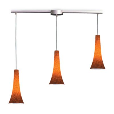 ELK Lighting Tromba 3-Light Pendant Ceiling Lamp in Satin Nickel/Espresso Glass