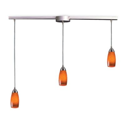 ELK Lighting Milan 3-Light Pendant Ceiling Lamp Satin Nickel/Espresso Glass