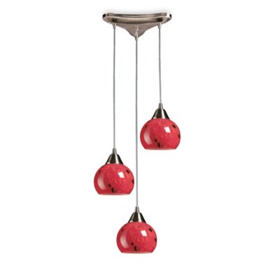 ELK Lighting 3-Light Vertical Pendant with a Satin Nickel Finish and Fire Red Glass