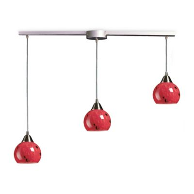 ELK Lighting Mela 3-Light Pendant Ceiling Lamp Satin Nickel/Fire Red Glass