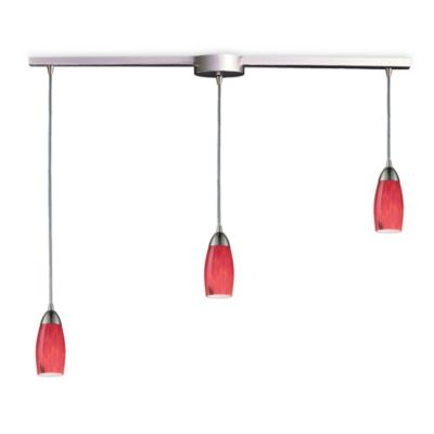 ELK Lighting Milan 3-Light Pendant Ceiling Lamp Satin Nickel/Fire Red Glass