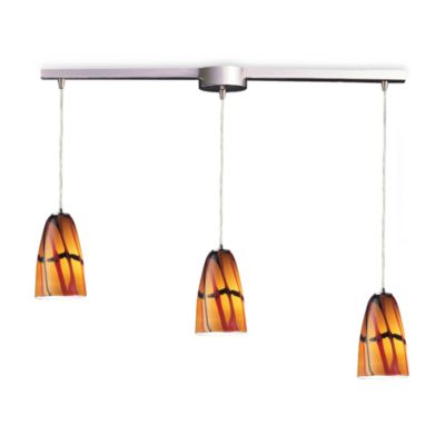 ELK Lighting Fuego 3-Light Pendant Ceiling Lamp in Satin Nickel/Jasper Glass