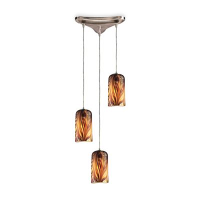 Elk Lighting Hand-Blown Molten 3-Light Pendant Fixture in Sunset