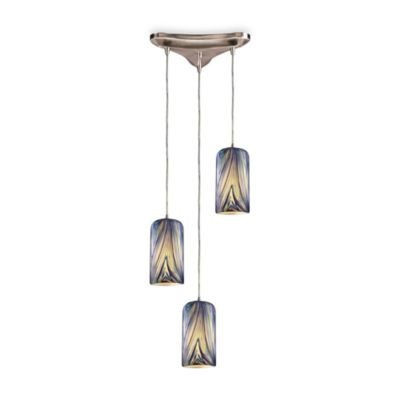 Three Light Vertical Drop Pendant Fixture With Hand Blown Glass Shades