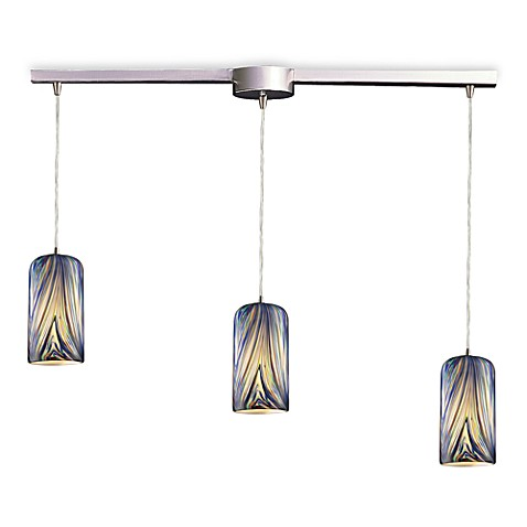 ELK Lighting Molten 3-Light Pendant Ceiling Lamp Satin Nickel/Molten Ocean Glass