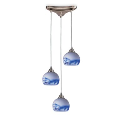 Hand-Blown Glass Pendant Light Fixture With Satin Nickel Base