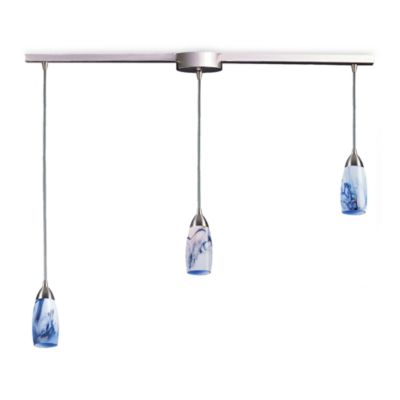 ELK Lighting Milan 3-Light Pendant Ceiling Lamp Satin Nickel/Mountain Glass