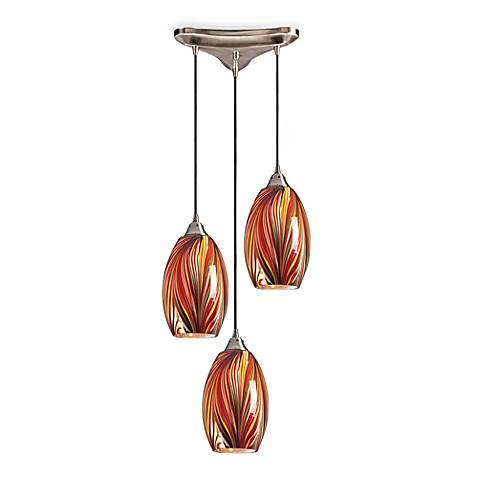 Satin Nickel Finish 3-Light Pendant with Handblown MultiColored Glass Shades